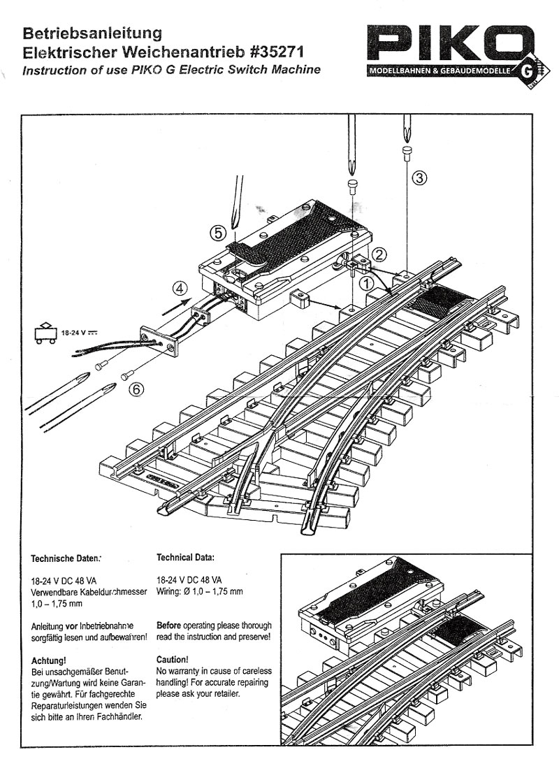 Shourt Line Soft Works Ltd Products Piko 35271 Electric Switch Machine Wiring Instructions Pg 1